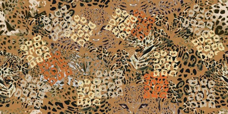 Safaridrömmar Grungebakgrund med leopardfläckar royaltyfri illustrationer