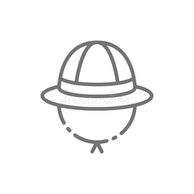 Safarihoed, cork het pictogram van de helmlijn stock illustratie