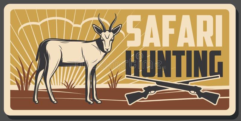 Safarijagdfahne mit afrikanischem Tier und Gewehr lizenzfreie abbildung