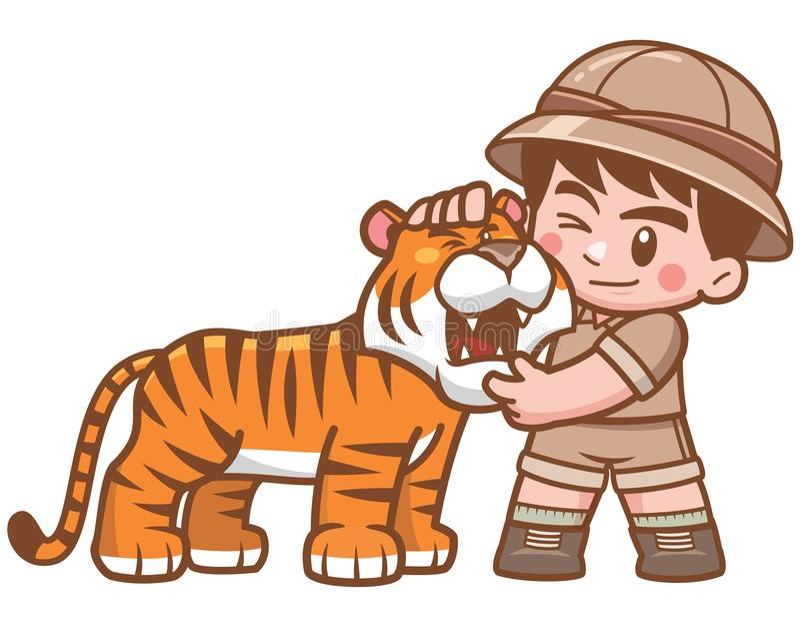 Safarijongen royalty-vrije illustratie