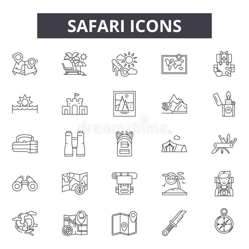 Safarilinje symboler, tecken, vektoruppsättning, översiktsillustrationbegrepp stock illustrationer