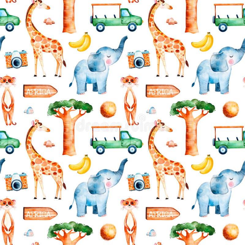 Safarisamling med den gulliga giraffet, elefant, meerkat stock illustrationer