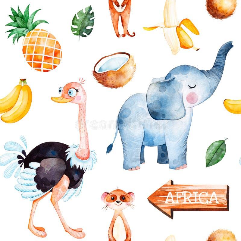Safarisamling med den gulliga strutsen, elefant, meerkat stock illustrationer