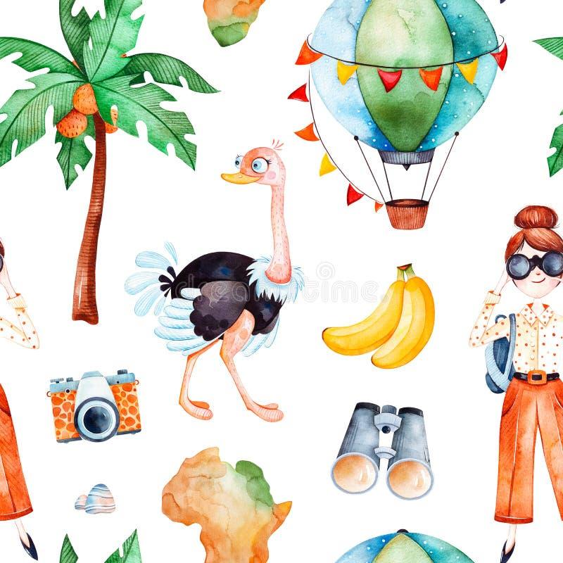 Safarisamling med den gulliga strutsen, luftballong, ung resande flicka vektor illustrationer