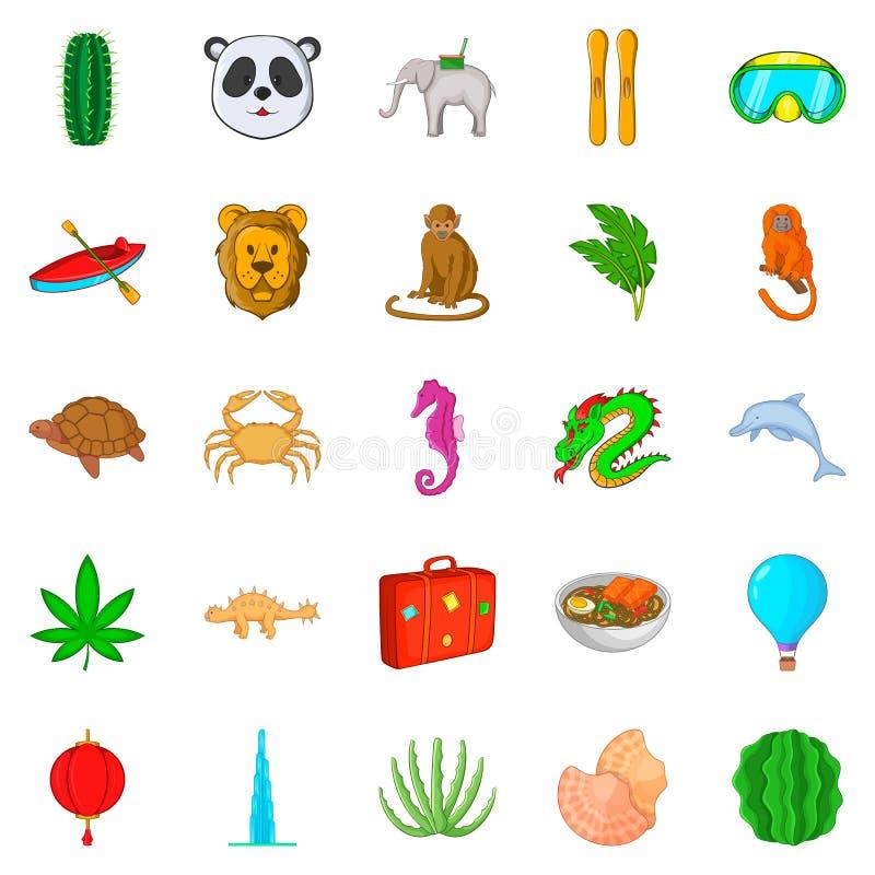 Safarisymboler uppsättning, tecknad filmstil royaltyfri illustrationer