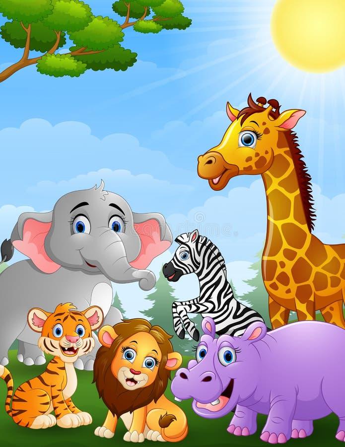 Safaritierkarikatur stock abbildung