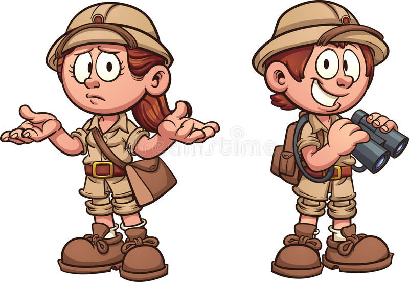 Safariungar stock illustrationer