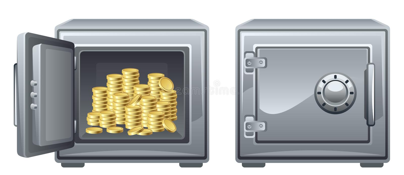 Safe. With money on a white background royalty free illustration