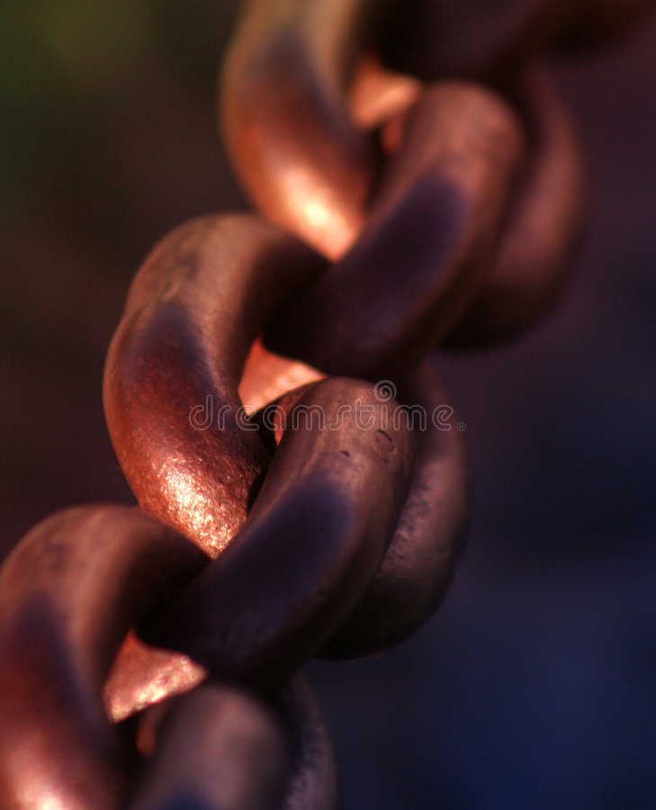Safe. Chain detail macro view composition stock image