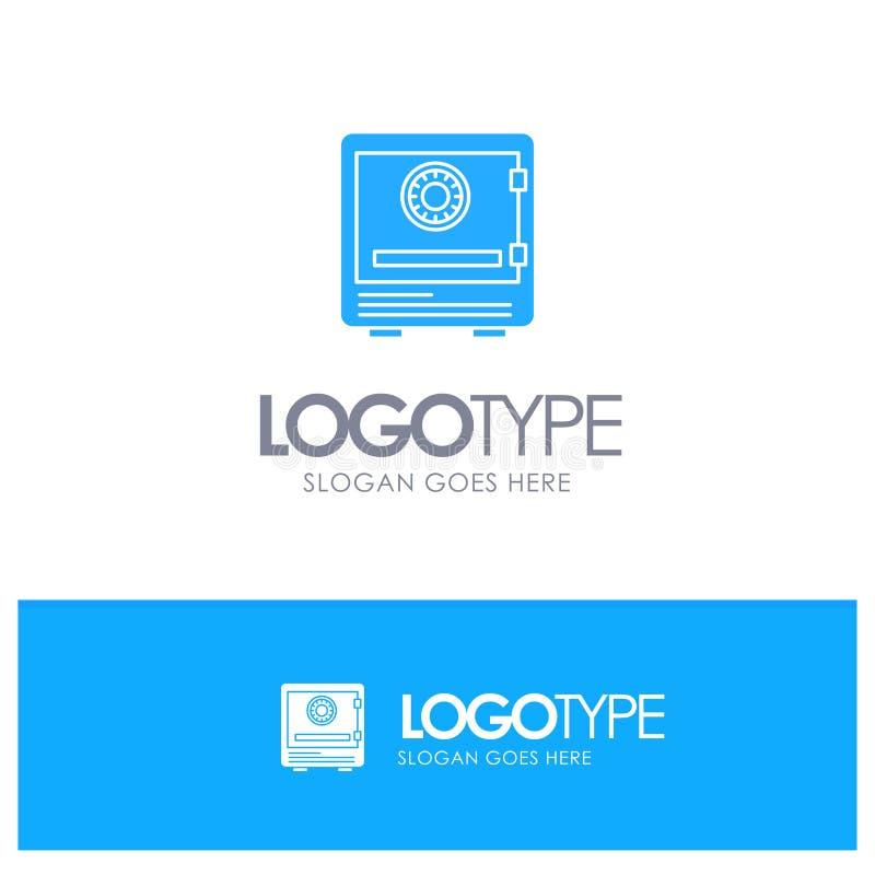 Safe, Bank, Ablagerung, Verschluss, Geld, Sicherheit, Sicherheits-blaues festes Logo mit Platz für Tagline vektor abbildung