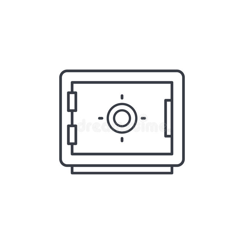 Safe, banking, money security, cash protection thin line icon. Linear vector symbol vector illustration