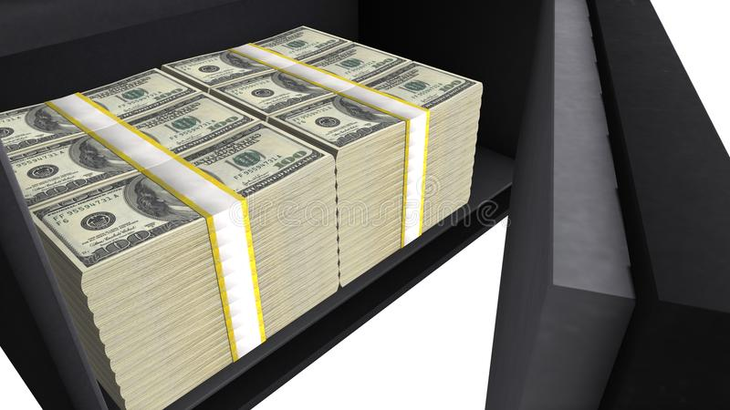 Safe box full of US dollar stacks, private financial savings, money security stock photography