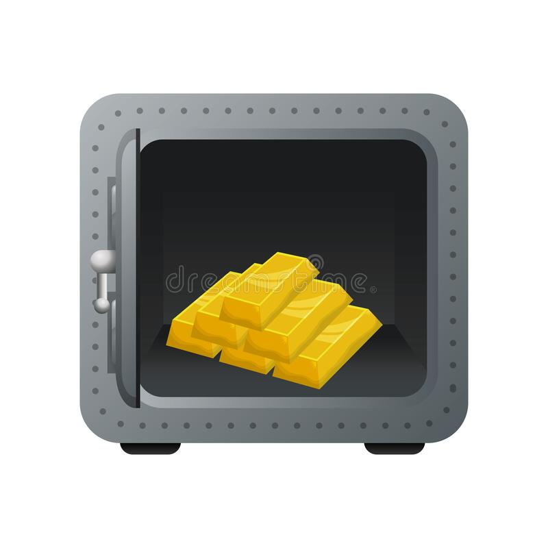 Safe box with gold bullion. Vector illustration design royalty free illustration