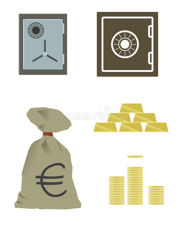 Safe Box, Gold Coins and Bars, Euro Cash. Vector Illustration. Safe Box with Lots of Gold Cash. Vector Illustration royalty free illustration