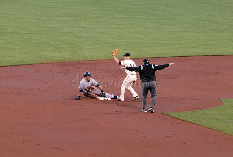 Safe call on a steal at second by Carlos Gomez. Brewers vs. Giants: Safe call on a steal at second by Brewers Carlos Gomez. September 18 2010 at the ATT Park San stock photography