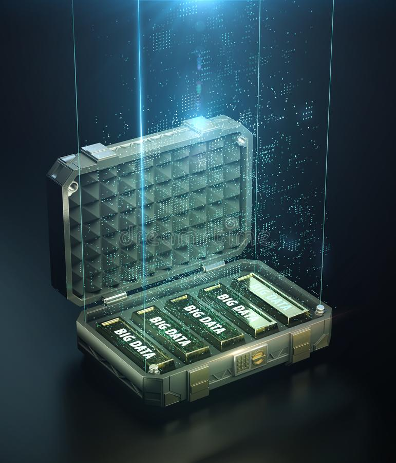 Safe case full of golden bars with words big data on them and cloud of digital points glowing atop. the concept of vector illustration