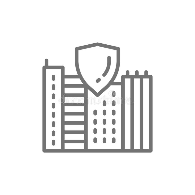 Safe city, town with shield, secure line icon. vector illustration