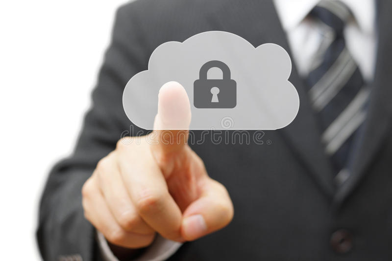 Safe cloud and online remote data. businessman pressing cloud icon royalty free stock image