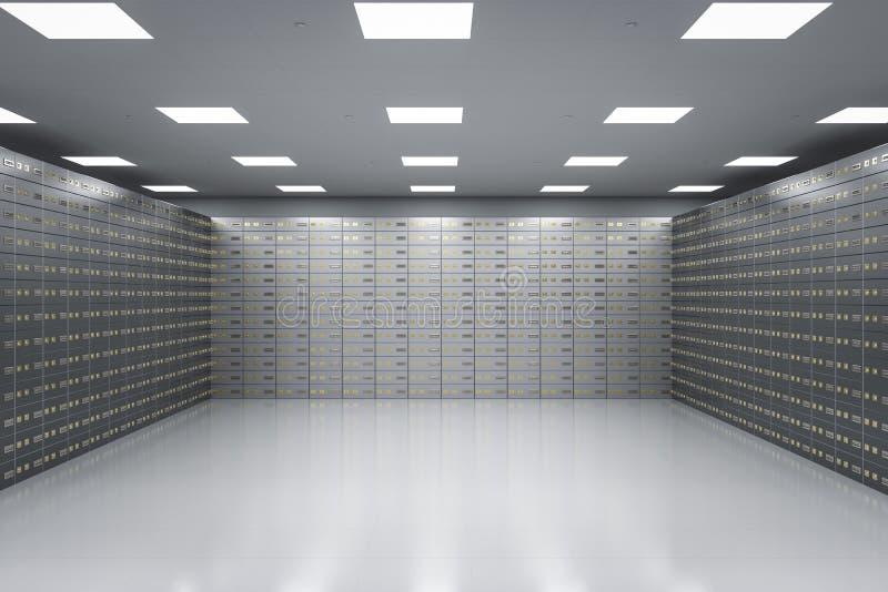Safe deposit boxes inside bank vault. 3d rendering safe deposit boxes inside bank vault