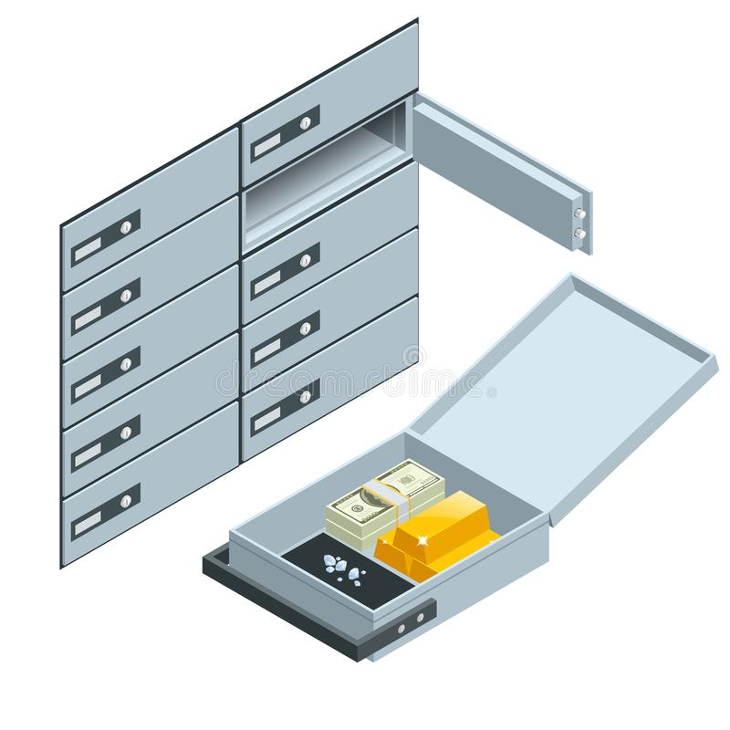 Safe Deposit Boxes. Open safe deposit box with golden ingots. Financial banking investment concept. Vector isometric vector illustration