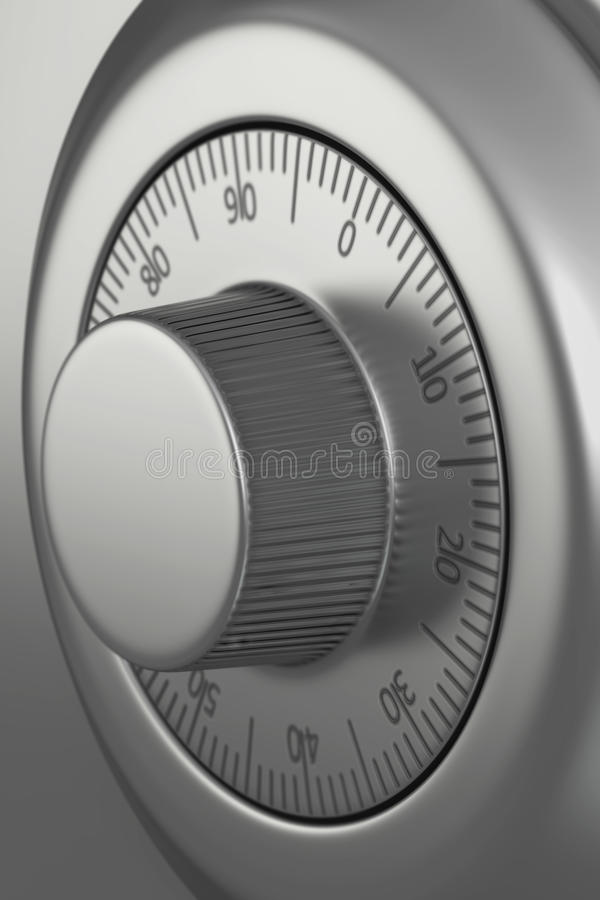 Safe dial lock close-up vector illustration