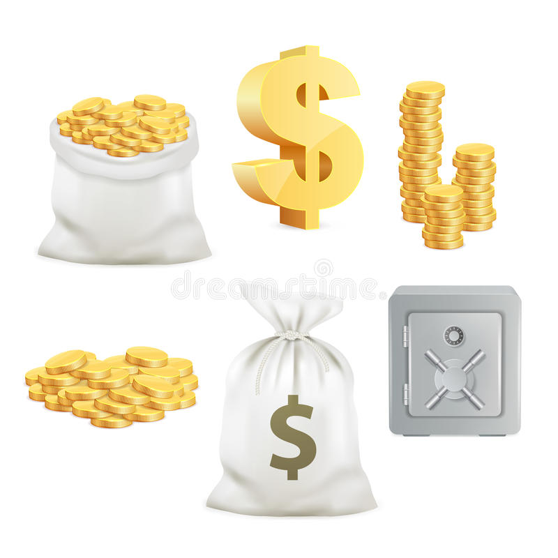 Safe, dollar sign, gold coin and moneybag. 3d vector icon set royalty free illustration