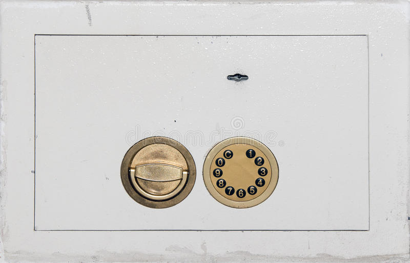 Safe door with locks closeup