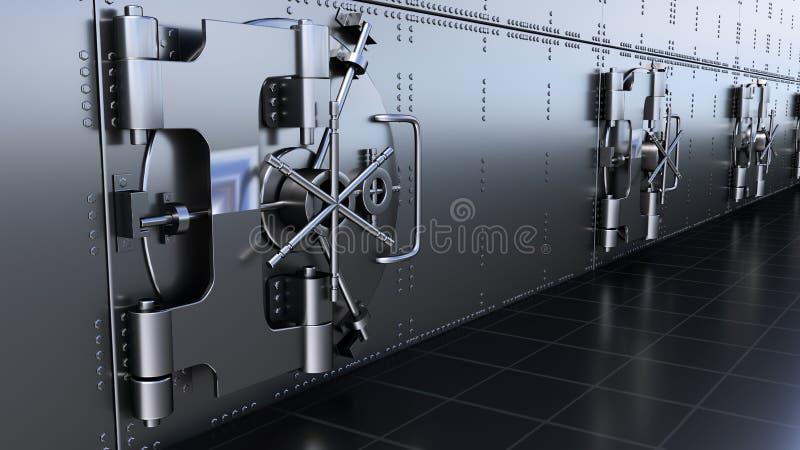 Safe Doors Of Bank Vault. 3D rendering. HD Safe Doors Of Bank Vault stock photo