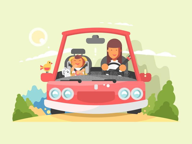 Safe driving in car. Transportation in automobile with buckled belt on child. Vector illustration vector illustration
