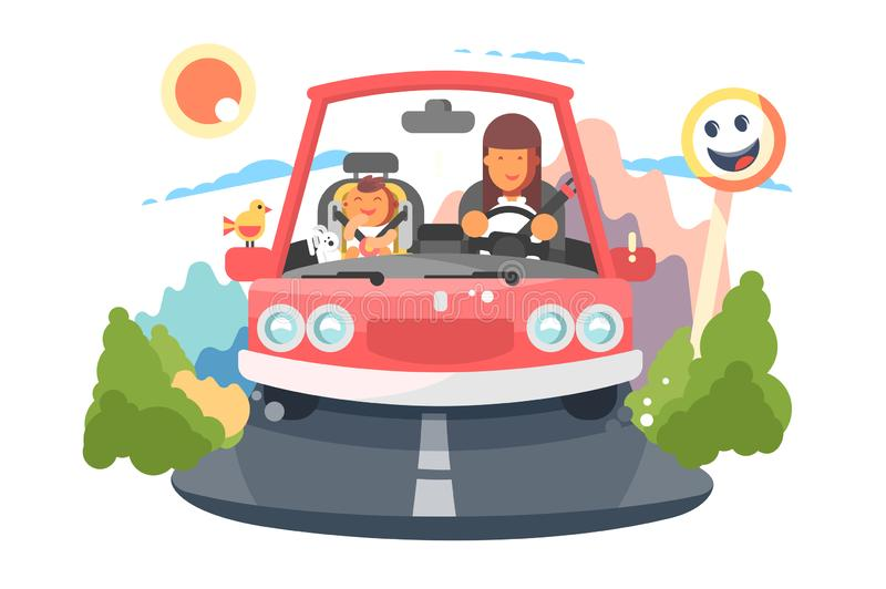 Safe driving mother with baby children car trip. Happy family traveling concept. Flat. Vector illustration stock illustration