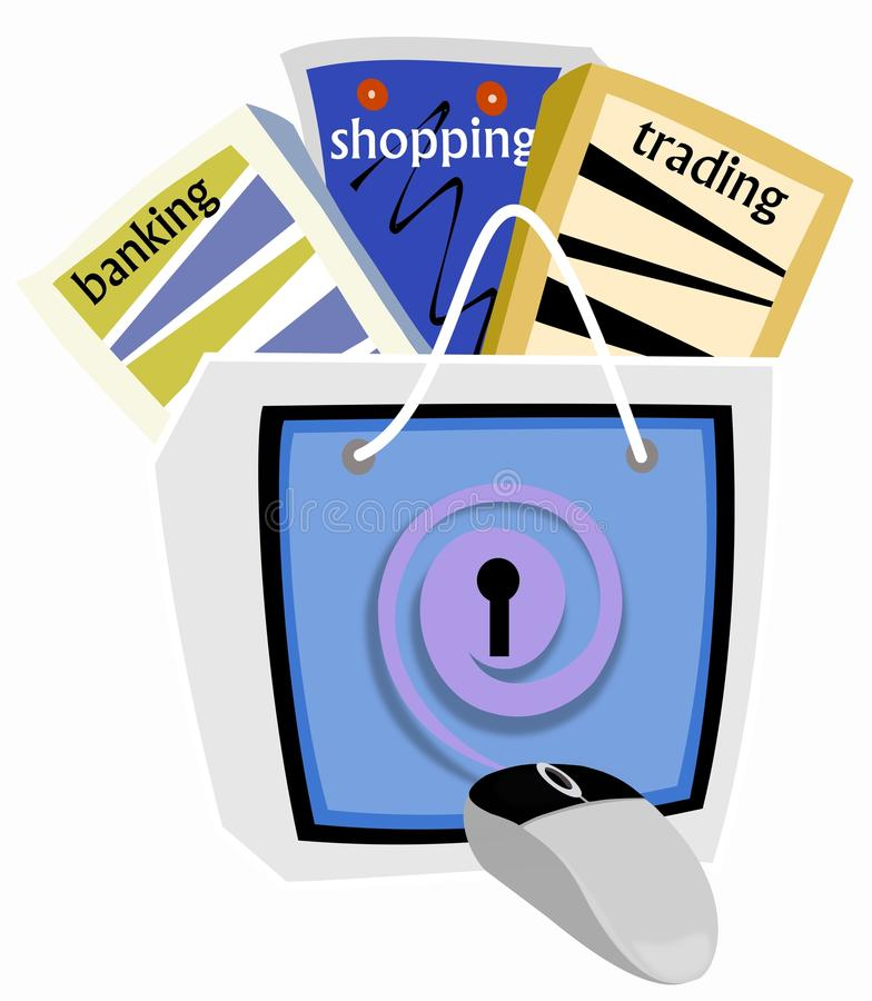 Safe E-commerce. Illustration depicting E-commerce as the key to convenience trading ,banking and shopping while practicing safe and secure online procedures royalty free illustration
