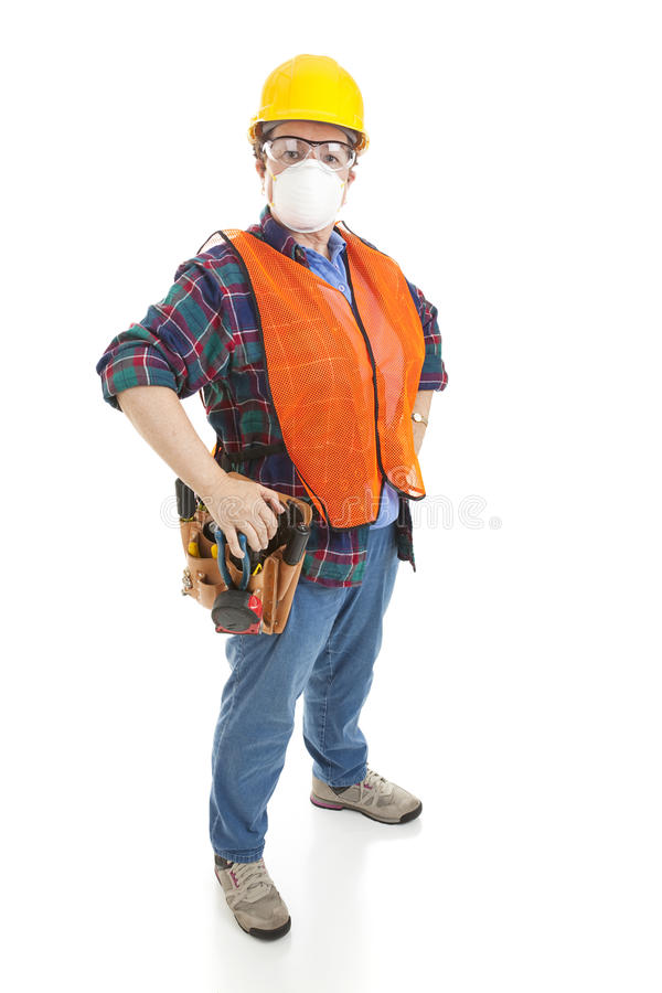 Download Safe Female Construction Worker Stock Photo - Image of carpenter, blueprints: 13047336