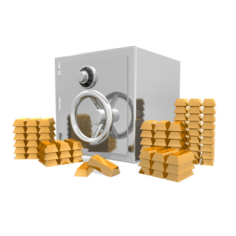 A safe with gold bars royalty free illustration