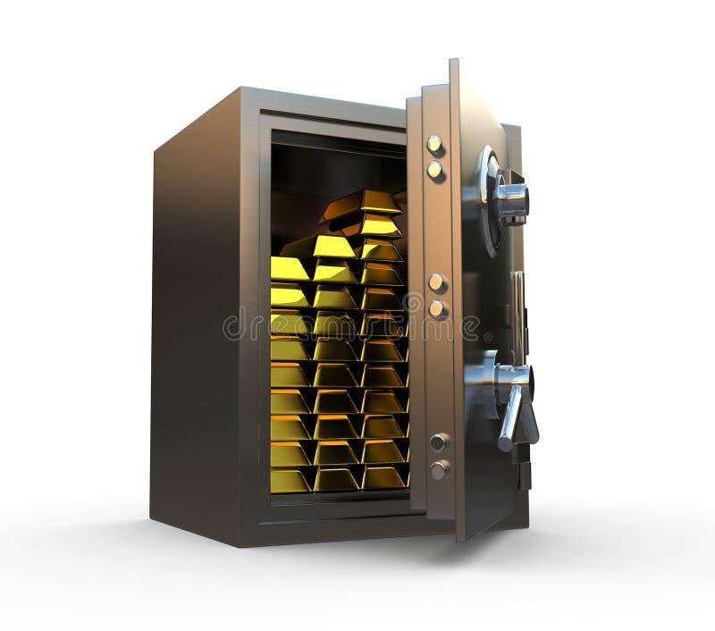 Safe with gold inside stock illustration
