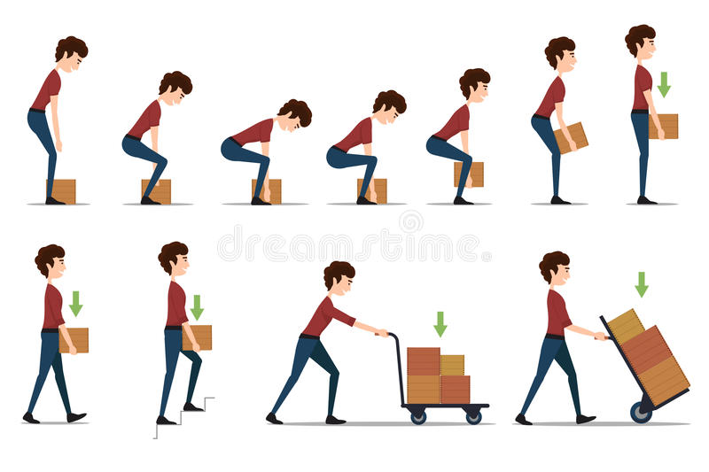 Safe handling and transportation of heavy items. Box and man, cargo and worker, delivery cardboard, distribution and weight, vector illustration royalty free illustration
