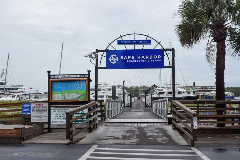 Safe Harbor Charleston City, prepares for Hurricane Dorian. With boats and yachts tied down, Safe Harbor Charleston City, prepares for Hurricane Dorian stock image