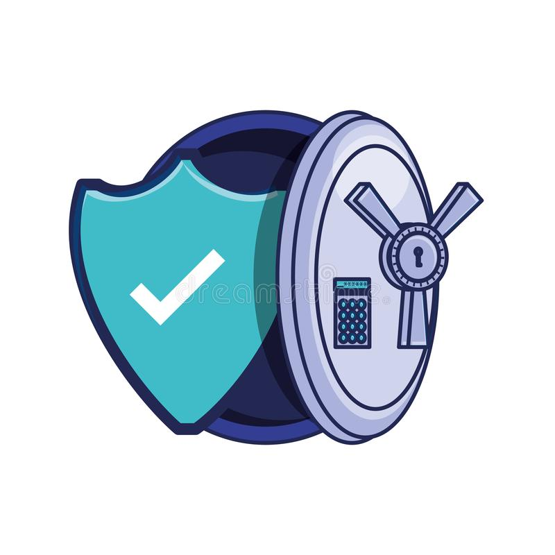 Safe heavy box with shield. Vector illustration design stock illustration