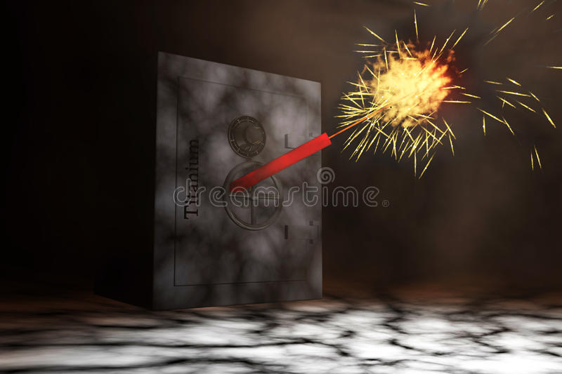 Safe. Heavy built resistant titanium safe, with dynamite ready to blow, robbery concept