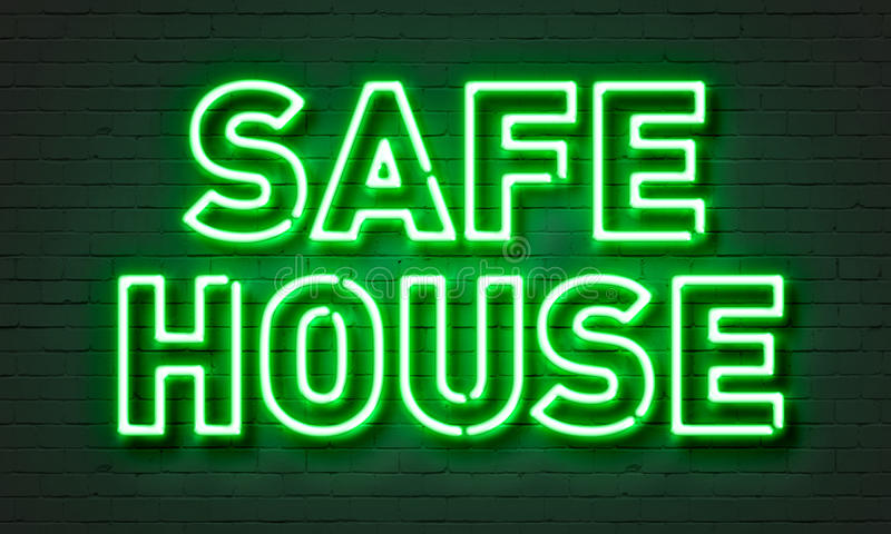 Safe house neon sign on brick wall background. Safe house neon sign on brick wall background stock images