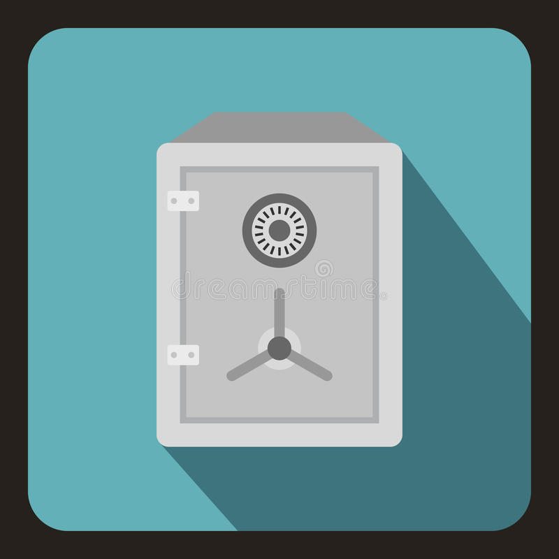 Safe icon in flat style. On a baby blue background vector illustration royalty free illustration