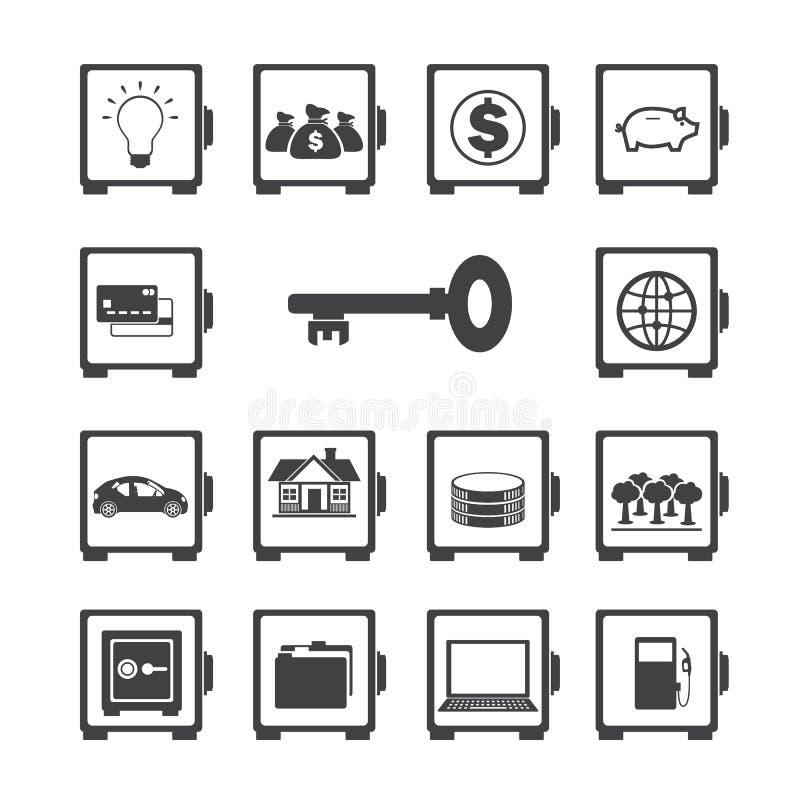 Safe icon set. vector illustration
