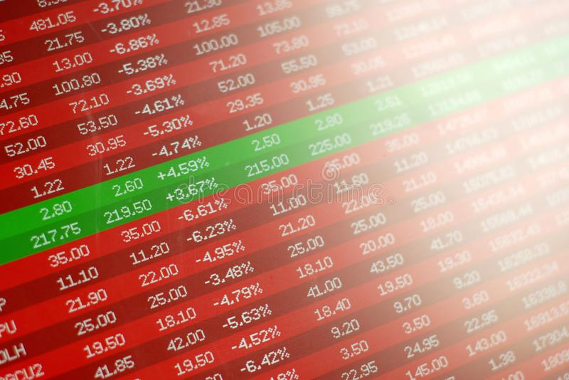 Safe investment in stock market crash, concept. Two winning stocks in green. Safe investment in stock market crash, concept. Red negative prices and the only royalty free stock images