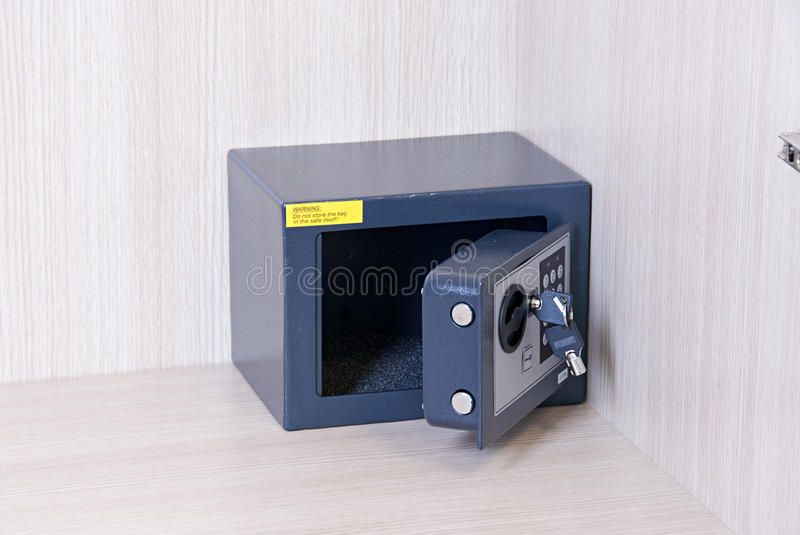 Safe key lock, savings, control panel, security stock image
