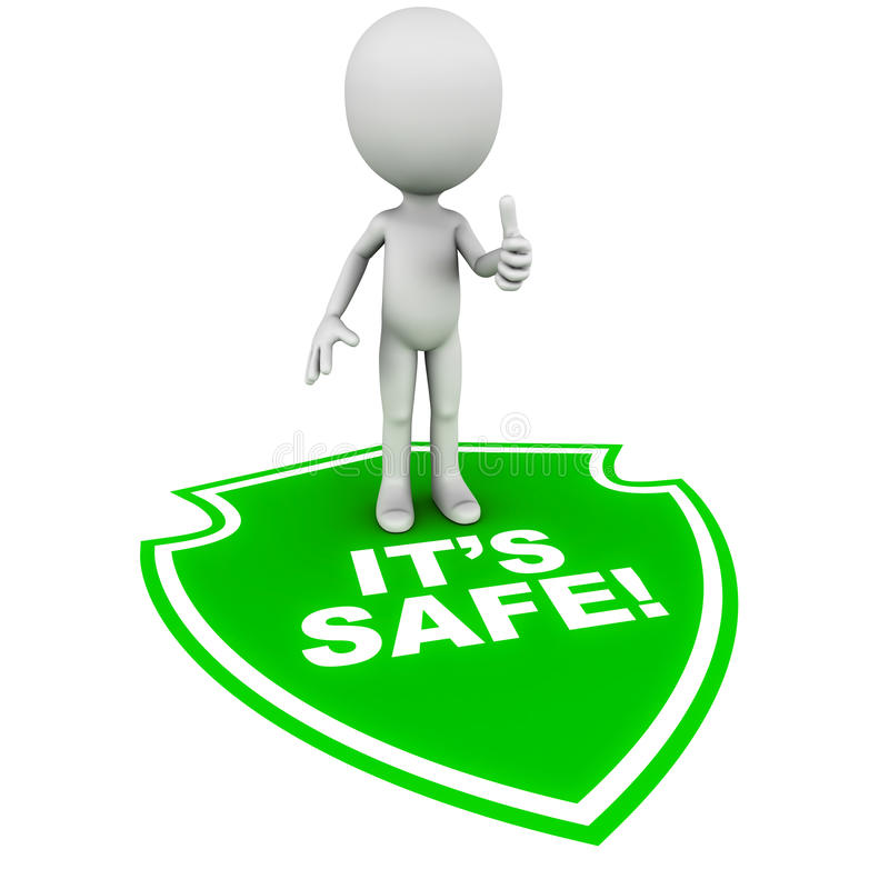 It's safe. It is safe for the little man standing with thumbs up on white background, text on green shield on floor, concept of computer or real world security stock illustration