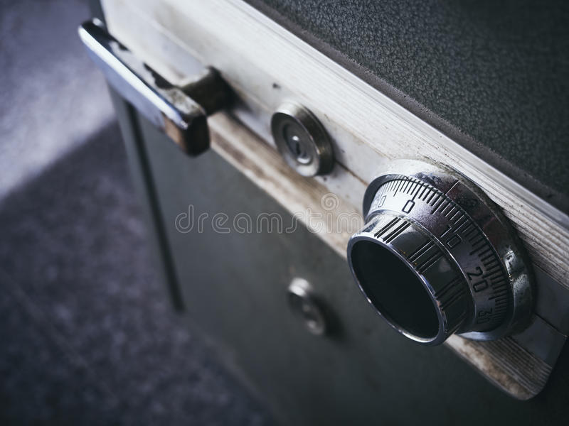 Safe lock code on safety box bank Close up royalty free stock photo