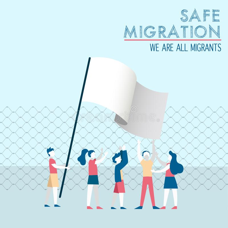 Safe migration concept of diverse children group. International Migrants Day illustration, diverse children group of different cultures together with white peace stock illustration