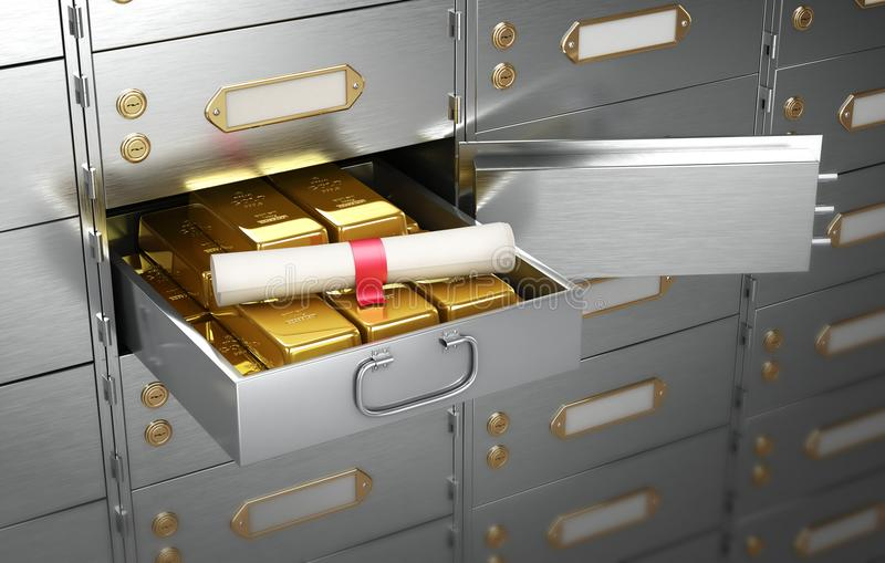 Safe with an open cell, full of gold bars on which lies the document in the form of a scroll. 3D Illustration royalty free stock images