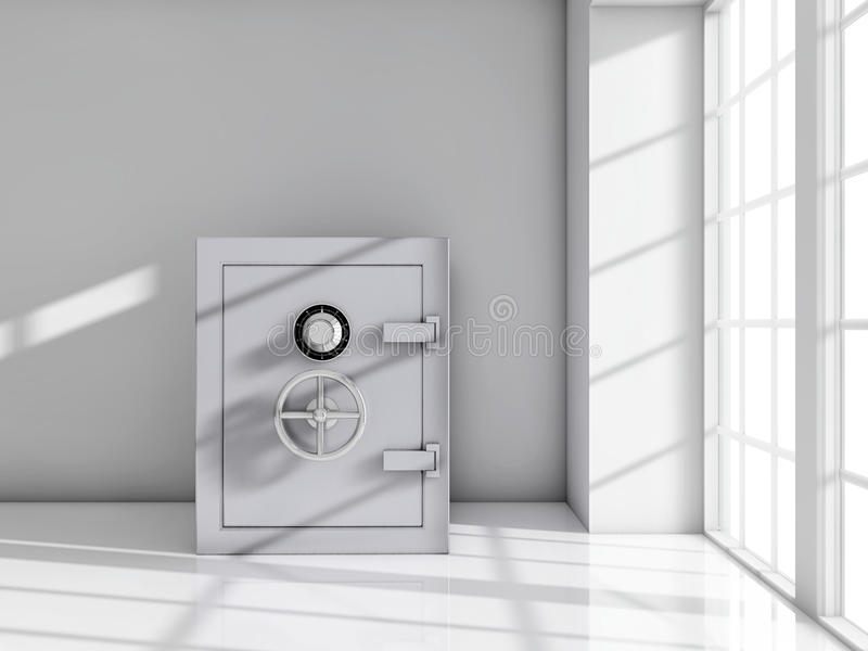 Safe room. Safe near to a window on a white room vector illustration