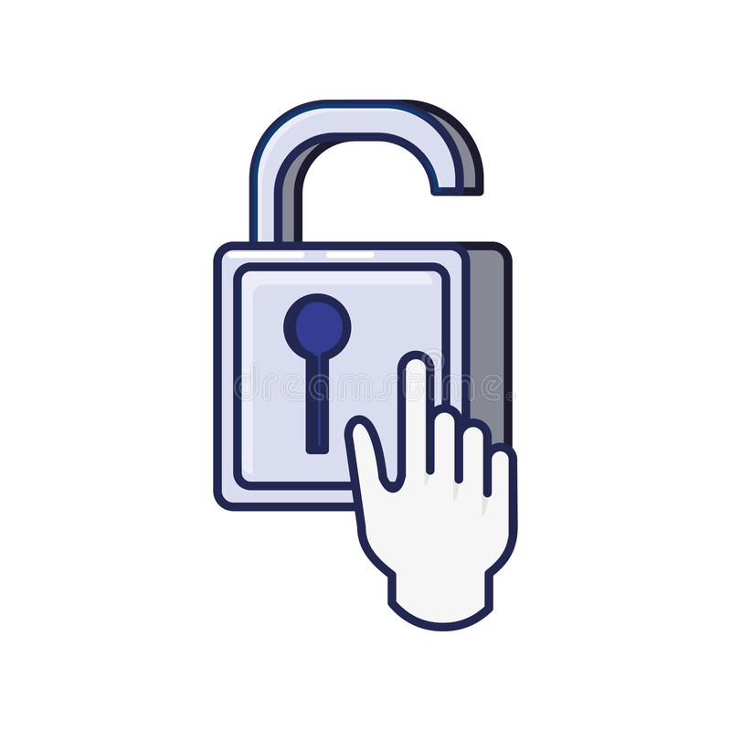 Safe secure padlock with hand pointer mouse stock illustration
