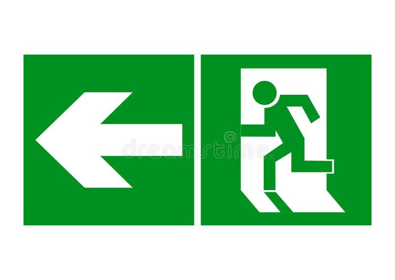 Safe sign. The exit icon. Emergency exit. Green icon on a white background. vector illustration